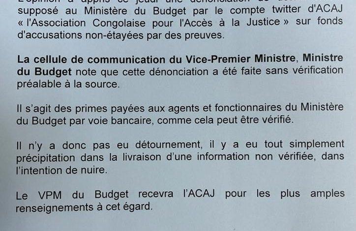 Photo of Affaire primes au Ministère du Budget : » l'ACAJ n'a pas vérifié l'information agissant dans la précipitation » [Mise au point]