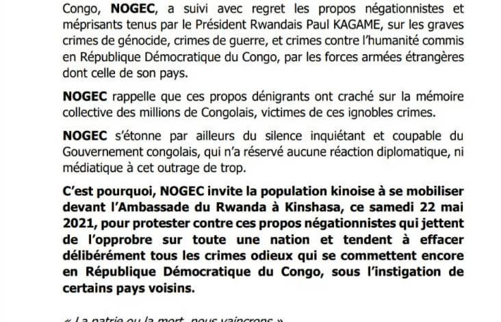 Photo of Kagamegate : la NOGEC dénonce le silence de Kinshasa et appelle à une mobilisation devant l'ambassade du Rwanda