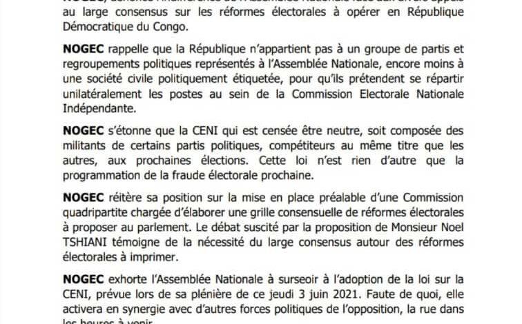 Photo of RDC-Réformes électorales : la NOGEC dénonce le forcing à l'Assemblée nationale et promet une mobilisation populaire
